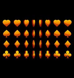 orange 3d symbols poker cards animation vector image vector image