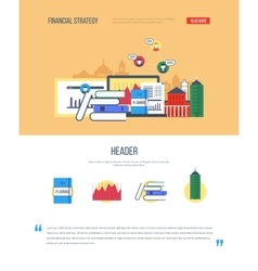 Page web design with icons of financial strategy vector