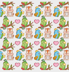 Parrot and squirel background pattern vector