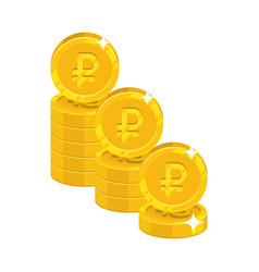 piles gold rubles isolated cartoon icon vector image vector image
