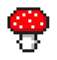 Pixel art amanita mushroom cartoon retro game vector
