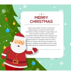 Santa Claus hold banner with Christmas greetings vector image