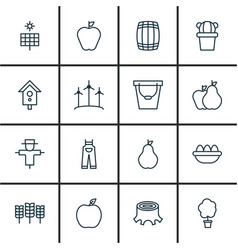 Set of 16 farm icons includes wood pot taste vector