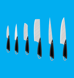 set of kitchen knives for various products vector image vector image