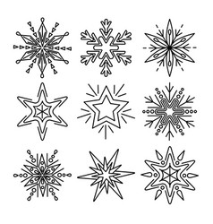 set of snowflakes in thin line style vector image