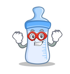 Super hero baby bottle character cartoon vector
