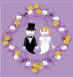 wedding between skeletons with frame vector image
