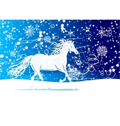 White horse sketch for your design symbol of 2014 vector