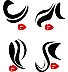 Woman face and hair icon vector image vector image