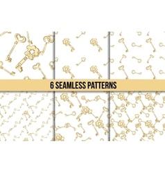 Seamless keys pattern set vector