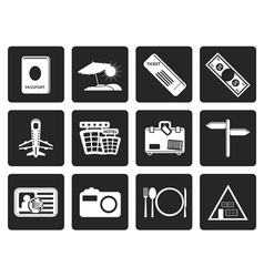 One tone Simple Travel and trip Icons vector image