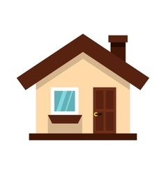 White cottage icon in flat style vector