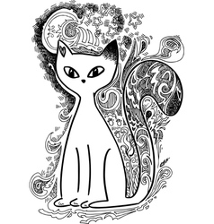 Cat in the moonlight sketchy doodles vector