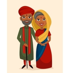 Happy indian middle aged couple isolated vector
