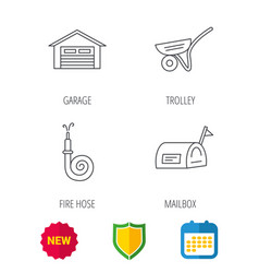 mailbox garage and fire hose icons vector image