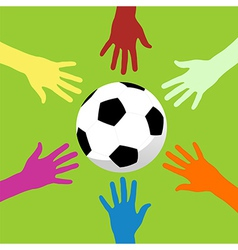 Soccer ball and hands around vector