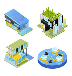 Futuristic private houses isometric vector