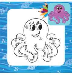 octopus coloring page vector image