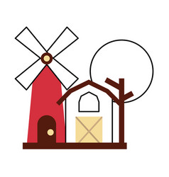 Farm stable building with windmill vector