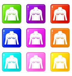 Plastic surgery of torso icons 9 set vector