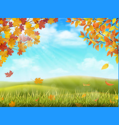 Autumn rural landscape with tree branches vector