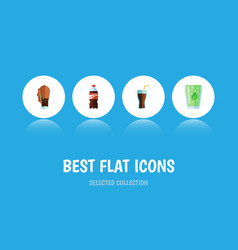 Flat icon beverage set of cup fizzy drink soda vector