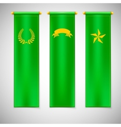 Vertical green flags with emblems vector