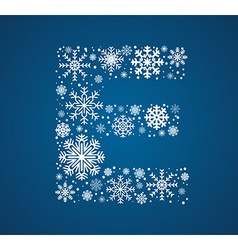 Letter e font frosty snowflakes vector