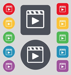 Play video icon sign a set of 12 colored buttons vector