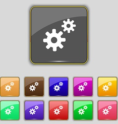 Cog settings cogwheel gear mechanism icon sign set vector