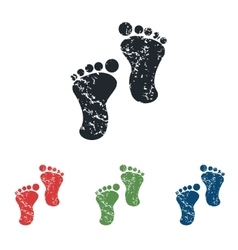 Footprint grunge icon set vector