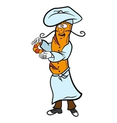 Baguette cartoon french chef character prepares vector