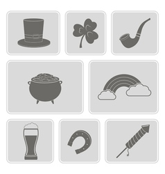 Monochrome set with saint patricks day icons vector