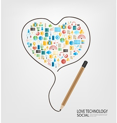 Pencil draw heart template design with social vector