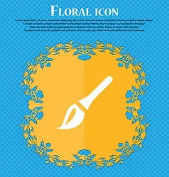 Paint brush artist floral flat design on a blue vector