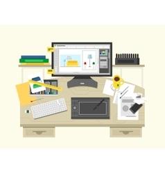 Interior design workspace vector image