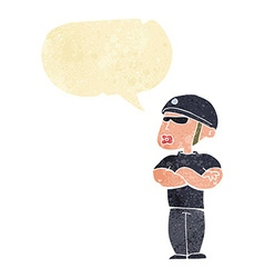 Cartoon security guard with speech bubble vector