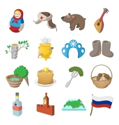 Russia cartoon icons vector