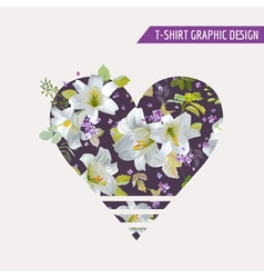 Floral lily flower heart graphic design vector