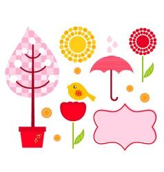 Cute garden elements vector image