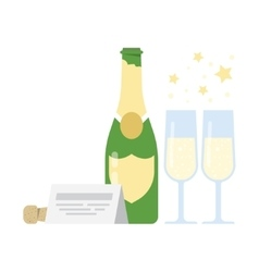 Bottle of champagne and two glasses vector