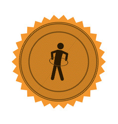 Amber circular seal with training in hula hoop vector