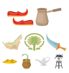 Arab emirates set icons in cartoon style big vector