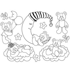 Black and White Baby Bears Set vector image