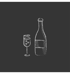 Bottle of champaign and glass drawn in chalk icon vector