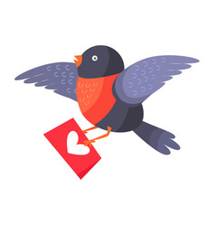 Bullfinch bird with red chest hold love envelope vector