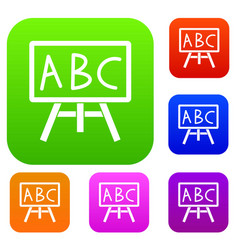 Chalkboard with the leters abc set collection vector