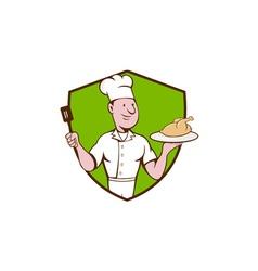 Chef cook roast chicken spatula crest cartoon vector