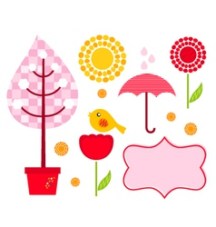 Cute garden elements vector image