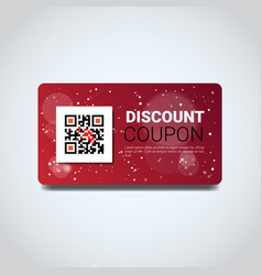 Discount coupon design voucher with qr code for vector